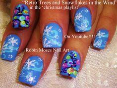 Easy Christmas tree Nail Art retro