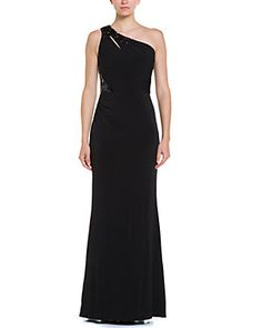 David Meister Black Embellished One-Shoulder Gown