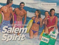 1985 Salem Cigarettes Ad Sexy Bikini Beach Friends Ocean Photo Bikini Beach, Sexy Bikini, Bikini Girls, Vintage Advertisements, Vintage Ads, Vintage Paper, Stop Smoking Cigarettes, Priscilla Barnes, Vintage Cigarette Ads