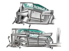 Mercedes F1 W04 - front wing developments    Pirelli's 2013 tyres have a different construction to their predecessors and therefore respond differently under aerodynamic load. Mercedes were the first team to introduce a revised front wing (lower picture) in order to cope with the new shape of the tyres. As you can see, the new wing is comprised of five elements which has increased the number of slot gaps from two to four