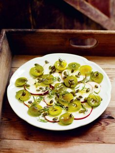 Apple, greengage & pumpkin-seed salad recipe from Gather by Gill Meller Plum Recipes, Fall Recipes, Toasted Pumpkin Seeds, Vegetarian Paleo, Apple Slices, Cooking Recipes, Salad, Blackberries, Salads