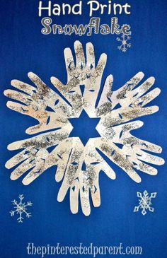 Crafts For Kids Hand Print Snowflake Craft - Winter & Christmas kid's crafts. Winter Kids, Christmas Crafts For Kids, Winter Christmas, Diy Crafts For Kids, Holiday Crafts, Arts And Crafts, Winter Preschool Crafts, Easy Crafts, Winter Crafts For Toddlers