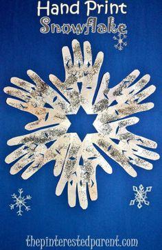Hand Print Snowflake Craft - Winter & Christmas kid's crafts.