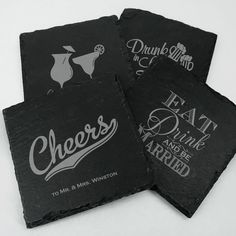 Personalized Square Slate Coasters. #partyfavors #weddingfavors #bridalshowerfavors #coasters #barware #slate #personalized Slate Stone, The Slate, Slate Coasters, Personalized Wedding Favors, Bridal Shower Favors, Big Day, Special Day, Cleaning Wipes, Rustic