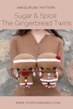 PATTERN Sugar and Spice the Gingerbread Twins Amigurumi Sugar & Spice the Gingerbread Twins Crocheted Amigurumi Pattern-Storyland Amis Christmas Crochet Patterns, Holiday Crochet, Crochet Patterns Amigurumi, Crochet Dolls, Crochet Simple, Crochet Diy, Crochet Gifts, Crochet Mignon, Confection Au Crochet