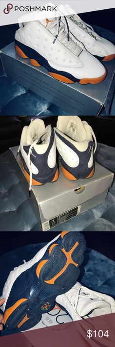 the latest 6e2b9 c93fe Air Jordan 13 Retro Low Navy Orange With Box Sz 9 Used Rare Jordan Retro 13