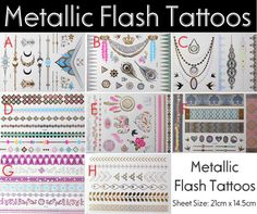 Metallic Flash Tattoos Temporary Flowers by MelineyNailArt on Etsy