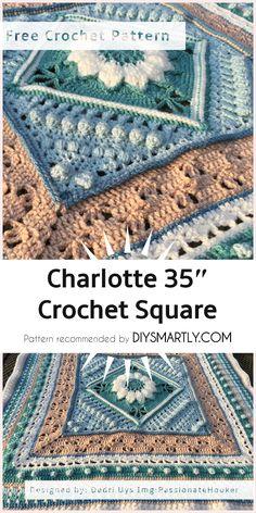 """Charlotte 35"""" Crochet Square - Free Crochet Pattern #crochetpattern #charlottesquare #freecrochetpatterns  #crochet #yarn #motif"""