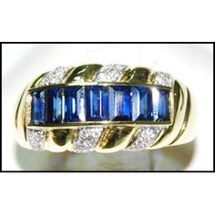 http://rubies.work/0275-ruby-rings/ Natural 18K Yellow Gold Diamond For Men Blue Sapphire by BKGjewels