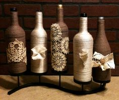 Items similar to Repurposed Wine Bottle Vase Set of 5 With Stand on Etsy Wrapped Wine Bottles, Wine Bottle Vases, Glass Bottle Crafts, Diy Bottle, Bottles And Jars, Glass Bottles, Mason Jars, Vase Design, Wine Craft