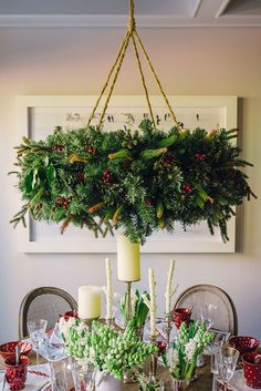 Hanging Wreath Chandelier Tutorial + Christmas + Winter + Vintage + Rustic Country..love this..so doing it. + Home Decor + Dining + Love the red and white dishes
