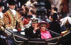 The Prince and Princess of Wales travel in an open carriage to Buckingham Palace, November 1982. They will be attending the state visit of Queen Beatrix of the Netherlands. (Photo by Jon Hoffman/Princess Diana Archive/Getty Images)
