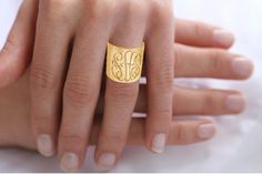 Personalized Monogrammed Cuff Ring (Order Any Initials) - Initials Ring - Karat Gold or Sterling SIlver