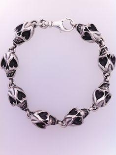Douglas Hughes Design. Solid Silver Sugar Skull Bracelet. 102 grams of Sugar Skull Sexiness!