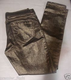 "NY & C metallic Gold SKINNY low rise Denim Jeans   Size 2 Waist 28"" Inseam 28""  $15"