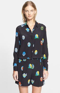 Stella+McCartney+Superhero+Print+Silk+Shirt+available+at+#Nordstrom