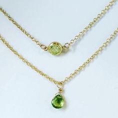 Peridot Necklace Gemstone Necklace Double Layered Necklace