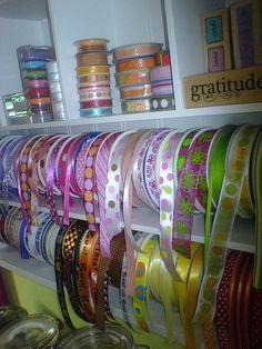 #papercraft #crafting supply #organization: Ribbon Storage