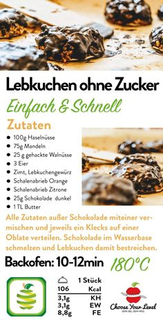 Lebkuchen ohne Zucker Choose Your Level Healthy Cake, Healthy Cookies, Healthy Sweets, Low Carb Desserts, Low Carb Recipes, Easy Gingerbread Recipe, Healthy Biscuits, Dessert Blog, Vegan Christmas