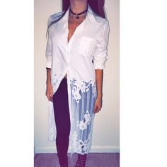 Lalia lace dress shirt Trendy, simple yet super chic. White long dress shirt with half sheer lace detail. Exclusive design. Not by FP, tagged for style preference only. No trade . Brand new.Thank you . Fit small or medium. Choker in my closet as well (handmade). Free People Dresses