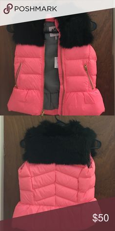 Bubble Vest with Fur Coral bubble vest with black fur. Never used. Juicy Couture Jackets & Coats Vests