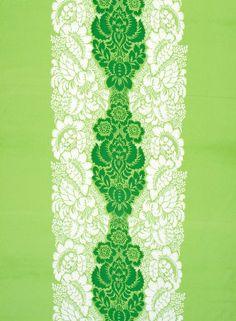 Ananas fabric (bright green, white, green) |Fabrics, Cottons | Marimekko