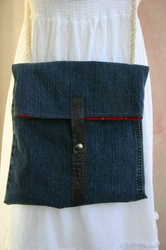 Upcycled denim crossbody purse with rope strap - Denim Hip