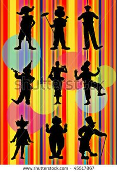bright background from nine clowns