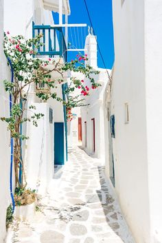 The colours of summer house style in a detail of Mykonos island traditional whitewashed village, Greece by Ivan Jelisavcic