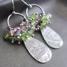 Love the texture metal drop on these earrings by Jennifer Casady on Etsy