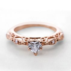 Rose gold Heart Shaped Filigree Diamond Engagement Ring