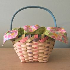 Woven Easter Basket in Pastel Colors With Chicks and Eggs Cotton Reversible Cloth Decorative Green Zigzag Edge Stitching Ready to Ship by SewforYou on Etsy