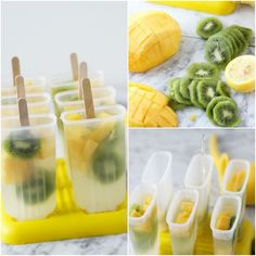 Refreshing mango kiwi lemonade popsicles that are perfect to cool down on any summer night! You guys I love making popsicles! Frozen Desserts, Summer Desserts, Frozen Treats, Fun Desserts, Popsicle Recipes, Snack Recipes, Salad Recipes, Homemade Popsicles, Fruit Popsicles