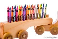 Organic Wooden Semi Truck Crayon Holder by countrysidegiftsllc, $19.95