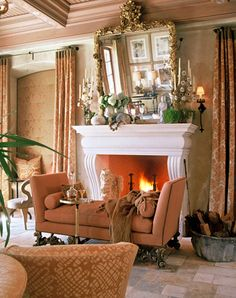 i think this is absolutely lovely, but i would move the fainting couch a little further away from the fireplace.  LOL
