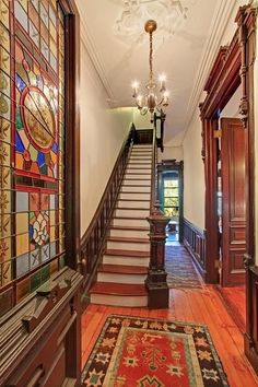 Victorian home - South Elliott Place Brooklyn Victorian brownstone interior banister stairway Brownstone Interiors, Victorian Interiors, Victorian Decor, Victorian Gothic, Victorian Homes, Townhouse, Vintage Homes, House Interiors, Gothic Lolita