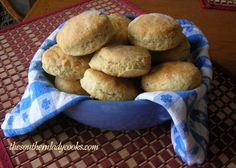 Angel Biscuits or Bride's Biscuits-Angel biscuits are sometimes called bride's biscuits because they are so easy to make that even a bride can make them.  They are lighter because they have both yeast and baking powder in the dough.  Angel biscuits do not rise up like Southern biscuits but are a golden brown, light and delicious biscuit.