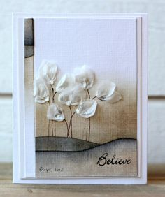 From Birgit Edblom, aka Biggan, in Norrland, Sweden. Z Cards, Card Tags, Tissue Paper Crafts, Felt Crafts, Beautiful Handmade Cards, Card Making Inspiration, Sympathy Cards, Flower Cards, Creative Cards