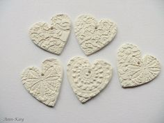 White Clay Heart Gift Tags with Doily Pattern , Christmas Ornaments or Wedding Favors made to order. €8.00, via Etsy.