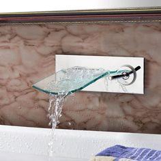 AS Wall Mount Bathroom Basin Mixer Tub Glass Waterfall Spout Faucet Single Lever   Home & Garden, Home Improvement, Plumbing & Fixtures   eBay!
