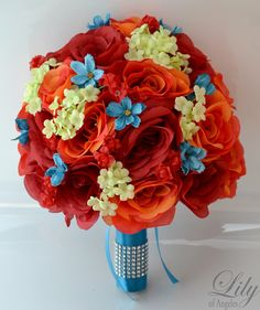 """17 Piece Package Wedding Bridal Bride Maid Of Honor Bridesmaid Bouquet Corsage Silk Flower Red ORANGE TURQUOISE MALIBU """"Lily of Angeles"""" by LilyOfAngeles on Etsy https://www.etsy.com/listing/216763705/17-piece-package-wedding-bridal-bride"""