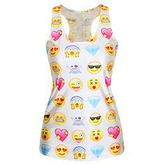 Gloshop Womens Sexy Funny Emoji Print Women Tank Top * More info could be found at the image url.Note:It is affiliate link to Amazon.