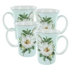 magnolia plate sets | Home / Blue Magnolia Bone China - Trumpet Mug - Set of 4