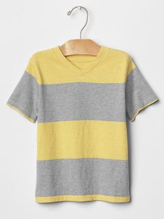 Heathered stripe V-neck tee