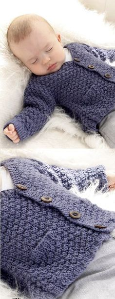 Knitted jacket with seamless sleeves in seed st for baby and children – Baby Knitting Patterns - Baby Clothing Baby Sweater Patterns, Knit Baby Sweaters, Knitted Baby Clothes, Cardigan Pattern, Cardigan Sweaters, Jacket Pattern, Knitting Sweaters, Crochet Boys Sweater Pattern Free, Boys Sweaters