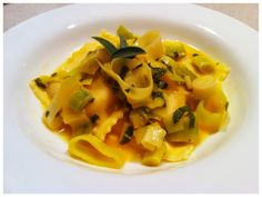 Butternut squash ravioli with leek and white wine sauce