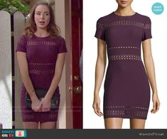 Ivy's purple short sleeve dress with cutouts on The Bold and the Beautiful.  Outfit Details: http://wornontv.net/52469/ #TheBoldandtheBeautiful