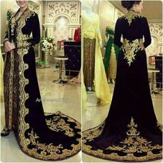muslim traditional prom dresses long sleeve vintage gold lace appliqué arabic black prom gown robe femme Prom Dresses Long With Sleeves, Homecoming Dresses, Short Dresses, Formal Dresses, Kebaya, Afghan Dresses, Hijab Style, Moroccan Dress, Moda Paris