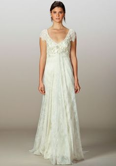 this is it! Chantilly lace cap-sleeve empire sheath gown with hand-beaded bodice embroidery