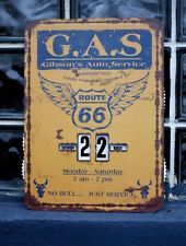 Route 66 Metal Perpetual Calendar Tin Sign Gibsons Auto Service Gas & Oil…